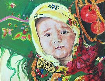 Bébé au foulard russe